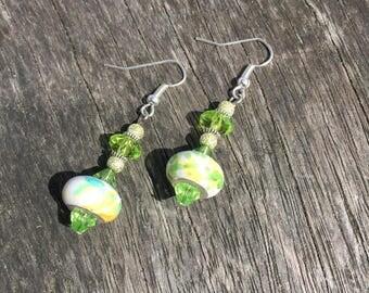 Yellow & Green Splatter Bottle Drop Earrings, Potion Bottle Earring, Dangle Earrings, Yellow and Green Earrings, Dress Earrings Gift For Her