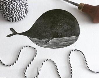 Linoprint – Walvis | Linocut print – Whale