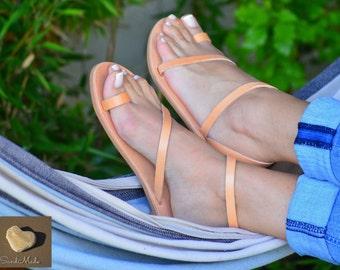 Greek leather sandals,Greek handmade leather sandals,Women ankle strap sandals, Summer leather sandals, DIONE