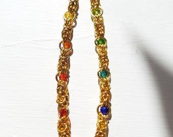 Rainbow Crystal Gold Byzantine Chain Bracelet