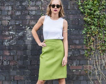 Bright Green Skirt Midi High Waisted Vintage Retro