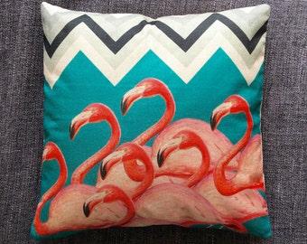 Tropical Flamingo Geometric Blue Cushion Cover, Pillow Cover, Decorative Cushion, Throw Pillow, 45cm