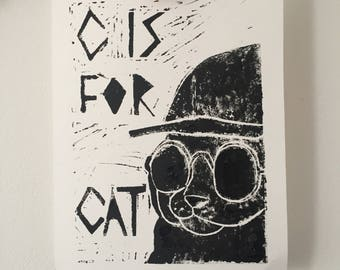 Black a White 'C is for Cat' Cool Original Art Print