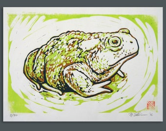 Toad, original linocut print, signed limited edition 30