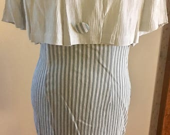 One piece blue and white stripped 70's dress