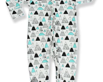 Baby Girls Boys Pajammie Zipsuit Mountain Peaks Bamboo Organic Cotton Footed Footie Pajamas PJs Sleeper Onesie Romper
