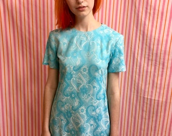 Vintage Blue and White Floral Daisy Abstract Short Sleeve A-Line Mod Dress