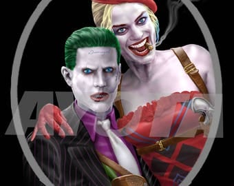 Joker and Harley Quinn Portrait as Bonnie and Clyde Limited Edition Mini Poster