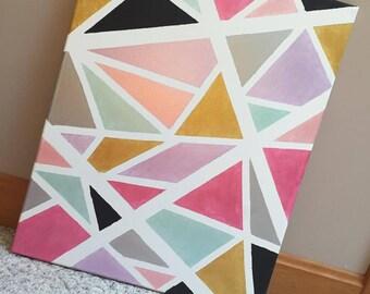 "Hand Painted Metallic Geometric Canvas Art- 20""x16"""