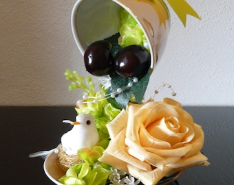 Floating Cup with White Bird and Tea-Rose