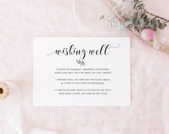Wishing Well Card Template Black And White Laurel DIY Modern Calligraphy