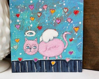 Folk Art Painting PINK Angel KITTY Walking Among HEARTS Acrylic, Original, Small Format Art, Cat Art