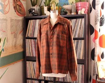 "vintage mens wool plaid jacket shirt . burnt sienna brown button down shirt . 48"" chest, mens xl xxl"