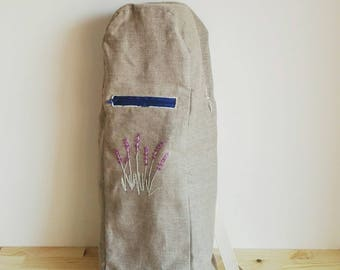 Hand embroidered yoga mat bag with zipper and pocket - Lavender - Herbarium Collection