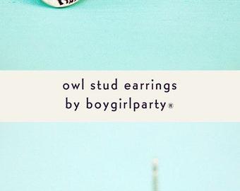 handmade earrings - STUD EARRINGS - dainty stud earrings, dainty owl stud earrings, cast earrings, handmade, jewelry, tiny owl stud earring