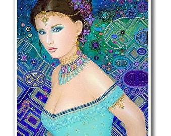 Signed 8 x 10 Print Carnivale Fairy Art Pink Nouveau Goddess Diva Mother Nature B. K . Lusk