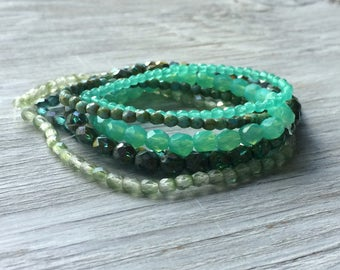 Glass Bead Strands - 6 strands of Czech glass beads Turquoise and Aqua (ST10)