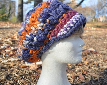 Purple and Orange Newsboy Hat - Crocheted Hat in Wool Acrylic Blend - Women's Hat with Brim - Chunky Knits - Winter Accessories - Winter Hat