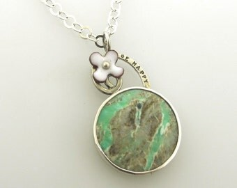 Be Happy, variscite gemstone with sterling silver and enameled flower, statement necklace by Kathryn Riechert