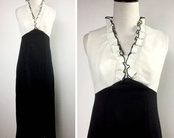 Black and White Maxi Dress - Sleeveless, Ruffle Collar, Empire Waist, Long Maxi Slit Skirt - Vintage 60s 70s Simple Mod Party Dress - Medium