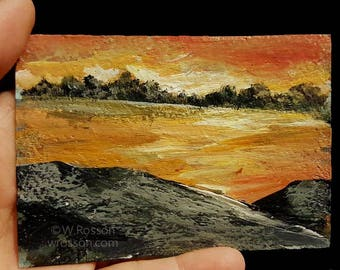 Sunset, River, ACEO, Original Painting, Art Card, Landscape Painting, Small Art, Orange Sky, Winjimir, Home Decor, Office Art, Gift, Card,