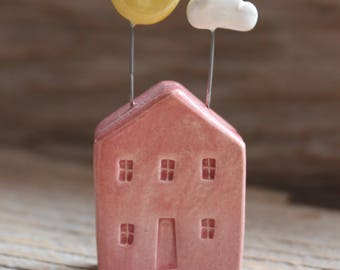 Ceramic Miniature Pink House with Moon and Cloud - Ready to Ship