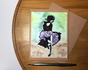 Just Dance Note Card - Original Watercolor Print