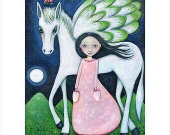 Winged horse wall print pegasus and girl art pegasus A3 folk art print flying horse art girl's room art children's wall decor Indigo child