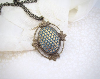 Renaissance Style Cabochon Necklace, Blue Gold Pendant, Victorian Pendant Necklace, Antique Brass Vintage Style Jewelry, Bohemian Necklace