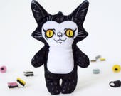 Illustrated black cat doll printed on soft minky fabric - Trouble Cat Jules