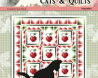 Cats And Quilts September Original Counted Cross Stitch Pattern by Pamela Kellogg
