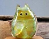 Shimmering Wasabi Green Cat Bead Handmade Lampwork Focal - Cuthbert FatCat