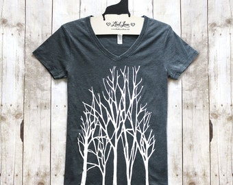 Fitted L-  Vintage Dye Charcoal V-Neck Tee with Branch Screen Print-