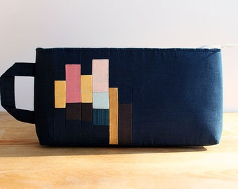 Meet Me on Tuesday - Quilted clutch, purse, bag, blue, pink, geometric, modern