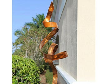 Abstract Metal Garden Art Modern Sculpture - Large Metallic Ribbon Indoor-Outdoor Statue - Copper Perfect Moment by Jon Allen