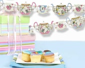 Alice in Wonderland Banner | Tea Party Garland | Tea Pots Cups Bunting | Mad Hatter Tea Party Decorations | Wall Garden Decor | Photo Props