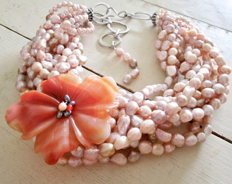 Champagne Pearls Carnelian Flower LUXE Belle Fleur Necklace - Multi Strand Necklace - Etsy Jewelry - catROCKS - Statement - Grace and Franke