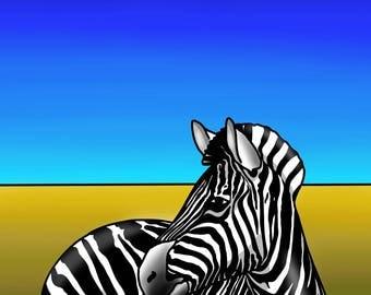 Zebra - colourful abstract fine art print by Amanda Hone
