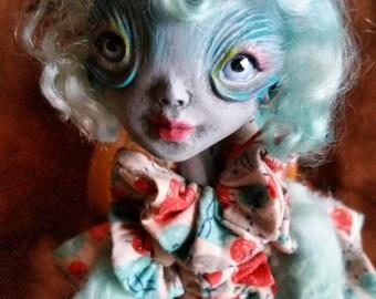 Art Doll, Alien OOAK Handmade Doll, Outer Space Creature, Cute Monster, Art Toy, Monster Doll, Plush Monster, Sculpted Doll, Tamra Kohl