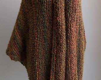 Custom Made Hand Knit Triangle Shawl Wrap, Large/ExtraLarge, Soft Textured Acrylic, Vegan, FREE SHIPPING