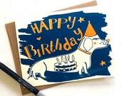 Happy Birthday Sausage Dog  - Screen Printed Card