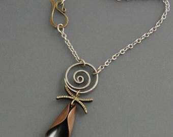 Mixed metal Pendant, totem necklace, sterling silver, brass, copper, spiral, petal, metalsmith, metalwork, handmade, organic, oxidized metal