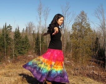 Tie Dye Maxi Skirt - Rainbow Skirt - Teal, Green, Blue, Purple - Full Skirt, Organic Cotton, MADE TO ORDER