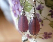 Lovely Victorian Style Lavender and Silver Rose Dangling Earrings