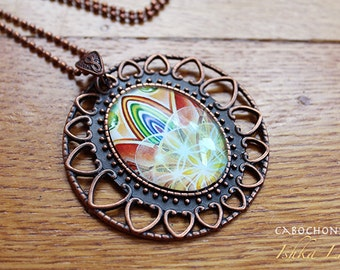 Rainbow Sunrise - Art Pendant Cabochon Necklace by Ishka Lha