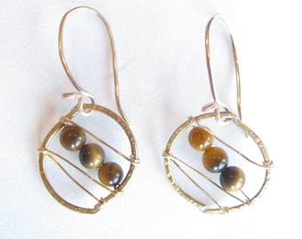 Tiger Eye and Gold-Filled Stitched Earrings