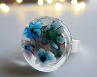 Glass Ring. Blue Millefiori Ring. Blue Flower Ring. Adjustable Fused Glass Ring. Boho Ring. Bohemian Ring. Cocktail Ring