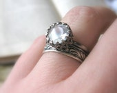 Unique Moonstone Engagement Ring / Black Gothic Promise Ring For her /  Let them Eat Cake Ring Dark Engagement Ring Oxidized Sterling Silver