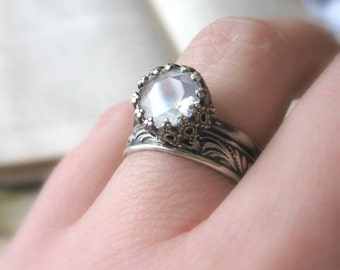 Unique Moonstone Engagement Let them Eat Cake Ring Oxidized Sterling Silver