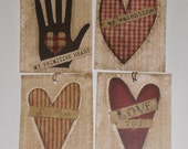 Set of 8 Assorted Primitive Valentine Love Be Mine I Love You February 14  Hang Tags Gift Ties Scrapbooking Ornies